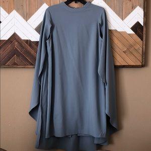 Blue cape back midi dress